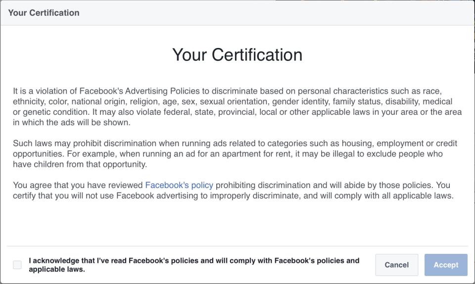 Social Media Updates-- Facebook discrimination policy