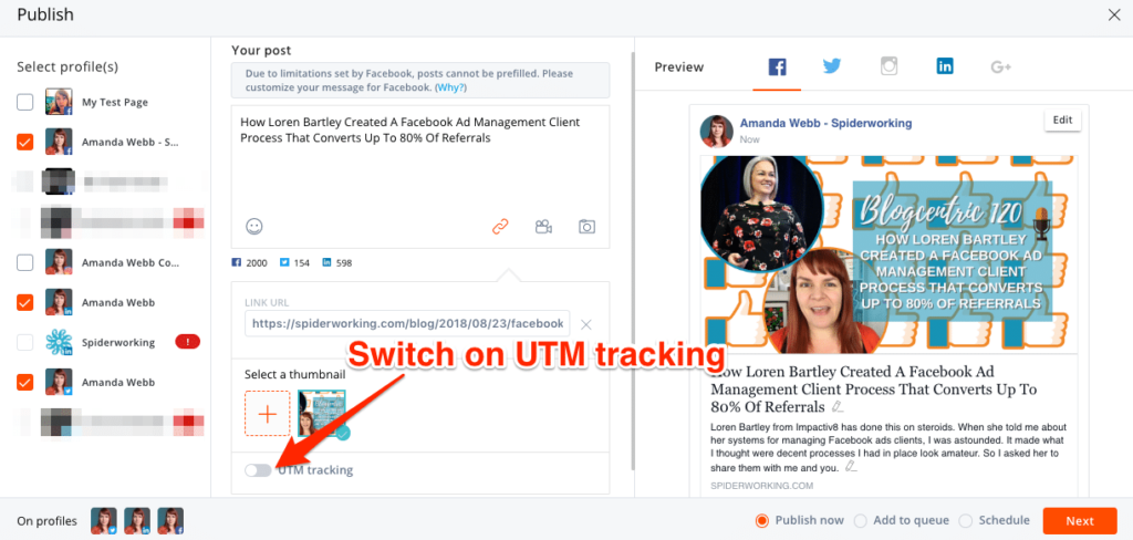 Switch on UTM tracking when you compose your post in AgoraPulse