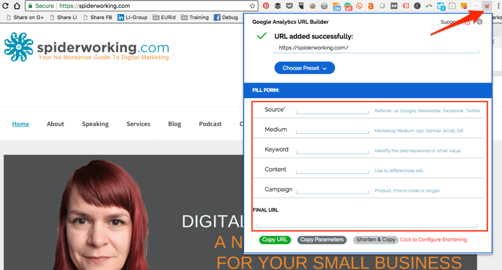 Create UTM Tracking Codes with the Chrome extension