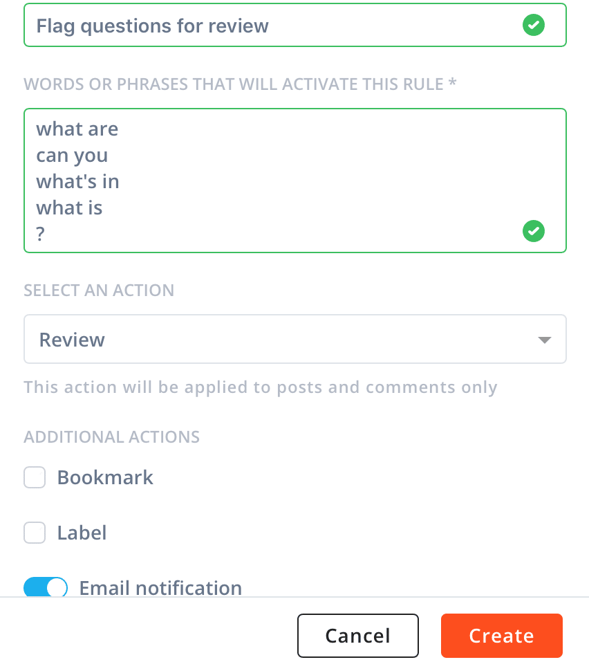 automatic moderation rules Agorapulse-- flagging questions for review