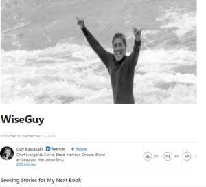 engagement on LinkedIn-- Guy Kawasaki engagement stats