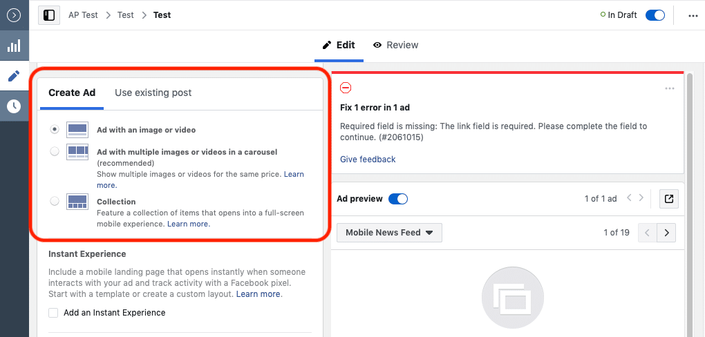Facebook advertising mistakes ad types
