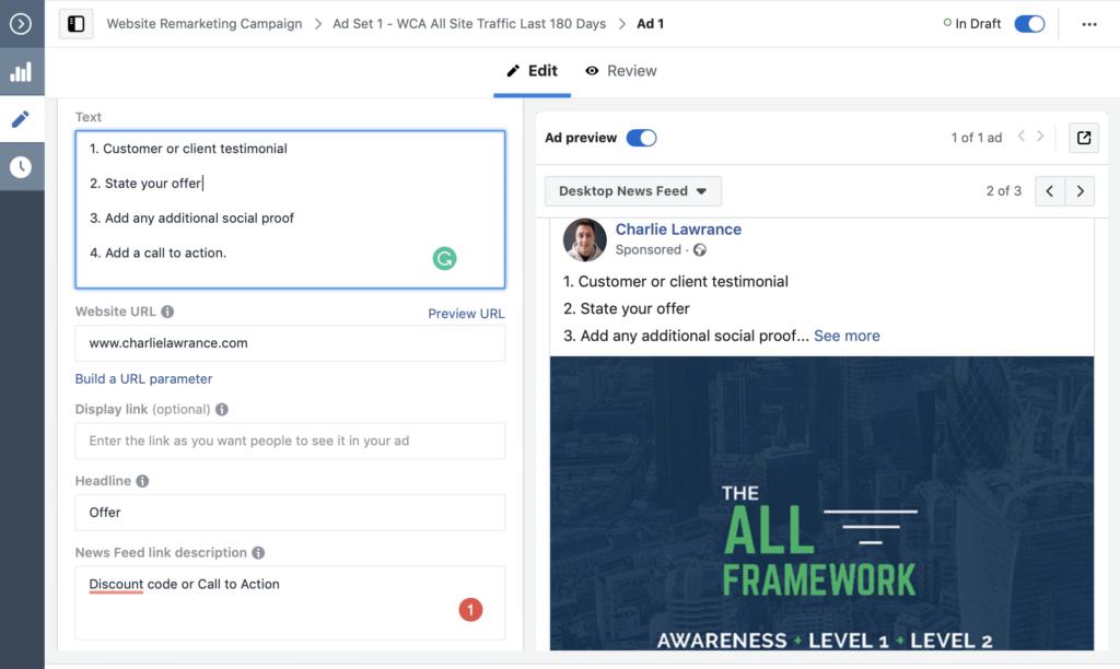 website visitors facebook ads copy structure